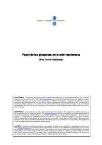 Papel de las plaquetas en la arteriosclerosis