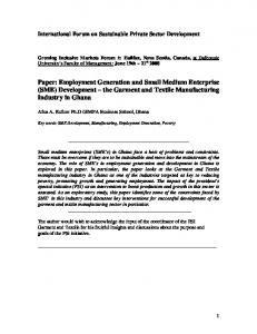 Paper: Employment Generation and Small Medium Enterprise (SME) Development the Garment and Textile Manufacturing Industry in Ghana
