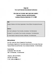 Paper for The Fourth Biennial International Conference