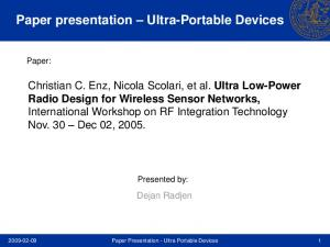 Paper presentation Ultra-Portable Devices