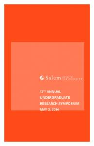 Papers. 17 th Annual Undergraduate Research Symposium May 2, Acknowledgments. Program Committee PROGRAM