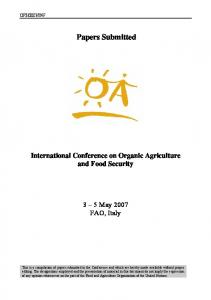 Papers Submitted International Conference on Organic Agriculture and Food Security