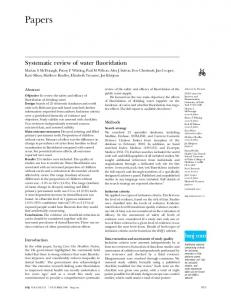 Papers. Systematic review of water fluoridation. Abstract. Methods. Introduction