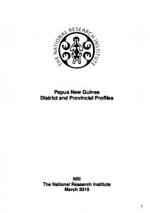 Papua New Guinea District and Provincial Profiles