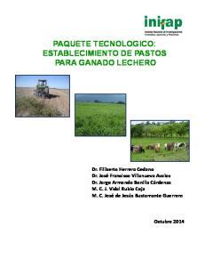 PAQUETE TECNOLOGICO: ESTABLECIMIENTO DE PASTOS PARA GANADO LECHERO