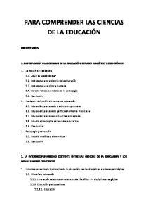 PARA COMPRENDER LAS CIENCIAS DE LA EDUCACIÓN