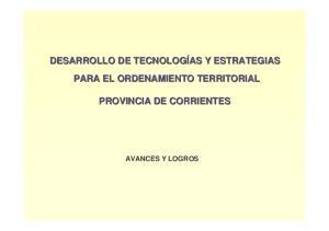 PARA EL ORDENAMIENTO TERRITORIAL PROVINCIA DE CORRIENTES