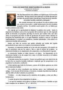 PARA LOS MAESTROS ORIENTADORES DE LA IGLESIA presidente Ezra Taft Benson Presidente de la Iglesia