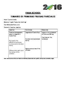 PARA SCHOOL TEMARIO DE PRIMERAS PRUEBAS PARCIALES