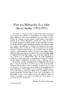 Para una Bibliografia de y sobre Severo Sarduy ( )