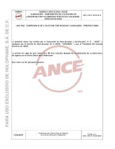 PARA USO EXCLUSIVO DE HOLOPHANE, S.A. DE C.V