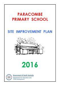 PARACOMBE PRIMARY SCHOOL SITE IMPROVEMENT PLAN