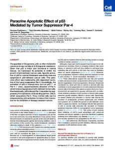 Paracrine Apoptotic Effect of p53 Mediated by Tumor Suppressor Par-4