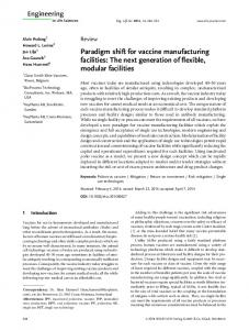 Paradigm shift for vaccine manufacturing facilities: The next generation of flexible, modular facilities