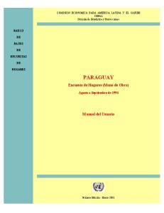 PARAGUAY. Encuesta de Hogares (Mano de Obra) Manual del Usuario. Agosto a Septiembre de 1994