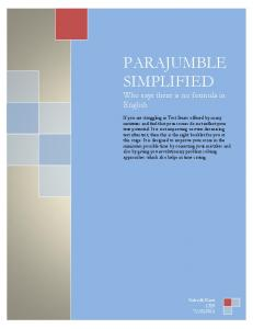 PARAJUMBLE SIMPLIFIED Who says there is no formula in English