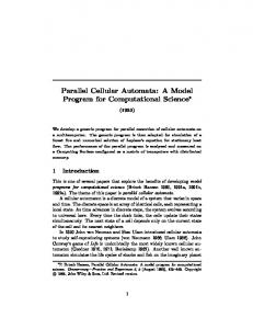 Parallel Cellular Automata: A Model Program for Computational Science