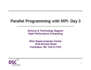 Parallel Programming with MPI- Day 3