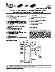 PARALLEL REAL-TIME CLOCK WITH CPU SUPERVISOR AND EXTERNAL SRAM NONVOLATILE MEMORY BACKUP