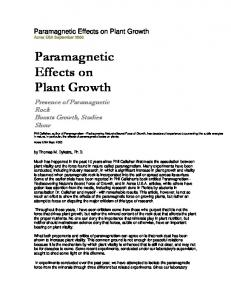 Paramagnetic Effects on Plant Growth