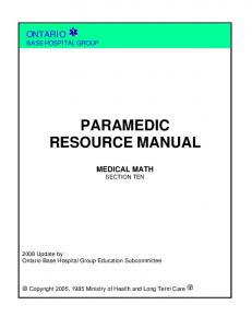 PARAMEDIC RESOURCE MANUAL