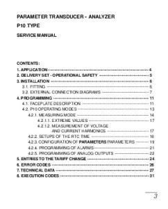 PARAMETER TRANSDUCER - ANALYZER P10 TYPE
