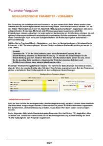 Parameter-Vorgaben SCHULSPEZIFISCHE PARAMETER - VORGABEN
