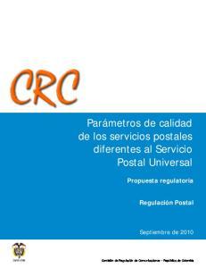 Parámetros de calidad de los servicios postales diferentes al Servicio Postal Universal