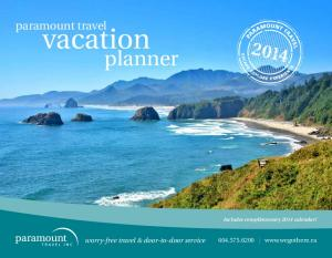 paramount travel vacation planner Includes complimentary 2014 calendar! worry-free travel & door-to-door service