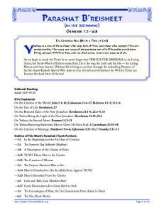 Parashat B reisheet. afghe k. afghe k j. (in the beginning) Genesis 1:1 6:8