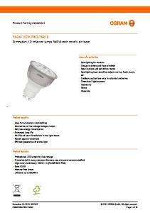 PARATHOM PRO PAR16. Product family datasheet. Dimmable LED reflector lamps PAR16 with retrofit pin base