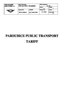 PARDUBICE PUBLIC TRANSPORT TARIFF