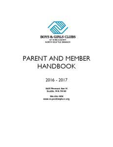 PARENT AND MEMBER HANDBOOK
