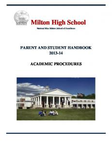 PARENT AND STUDENT HANDBOOK