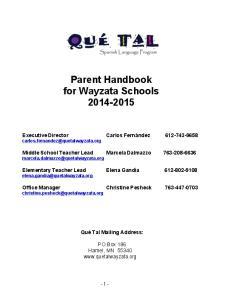 Parent Handbook for Wayzata Schools