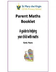 Parent Maths Booklet. Early Years