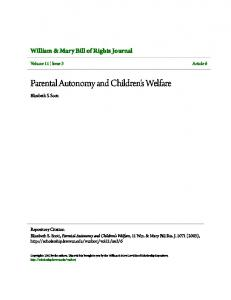 Parental Autonomy and Children's Welfare