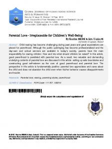 Parental Love - Irreplaceable for Childrens Well-Being