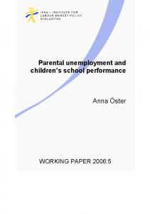 Parental unemployment and children s school performance
