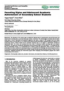 Parenting Styles and Adolescent Academic Achievement of Secondary School Students