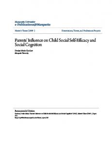 Parents' Influence on Child Social Self-Efficacy and Social Cognition