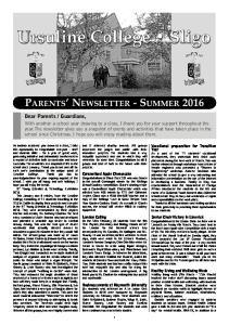 PARENTS NEWSLETTER - SUMMER 2016