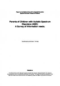 Parents of Children with Autistic Spectrum Disorders (ASD): A Survey of Information needs