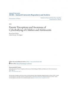 Parents' Perceptions and Awareness of Cyberbullying of Children and Adolescents