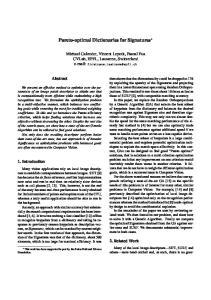 Pareto-optimal Dictionaries for Signatures