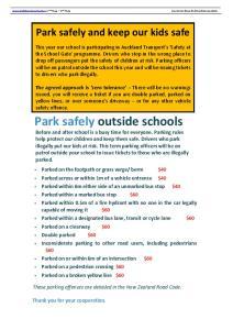 Park safely outside schools