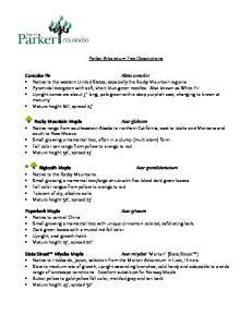 Parker Arboretum Tree Descriptions