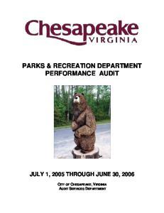 PARKS & RECREATION DEPARTMENT PERFORMANCE AUDIT