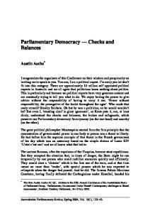 Parliamentary Democracy Checks and Balances