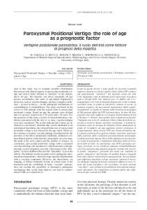 Paroxysmal Positional Vertigo: the role of age as a prognostic factor